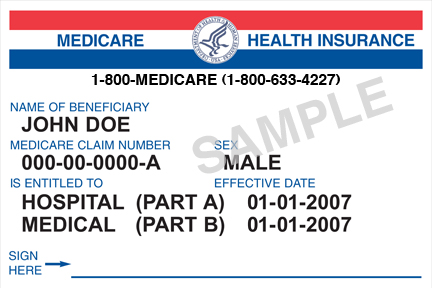 Original Medicare card with Social Security-based Health Insurance Claim Number (HICN) (source: CMS)