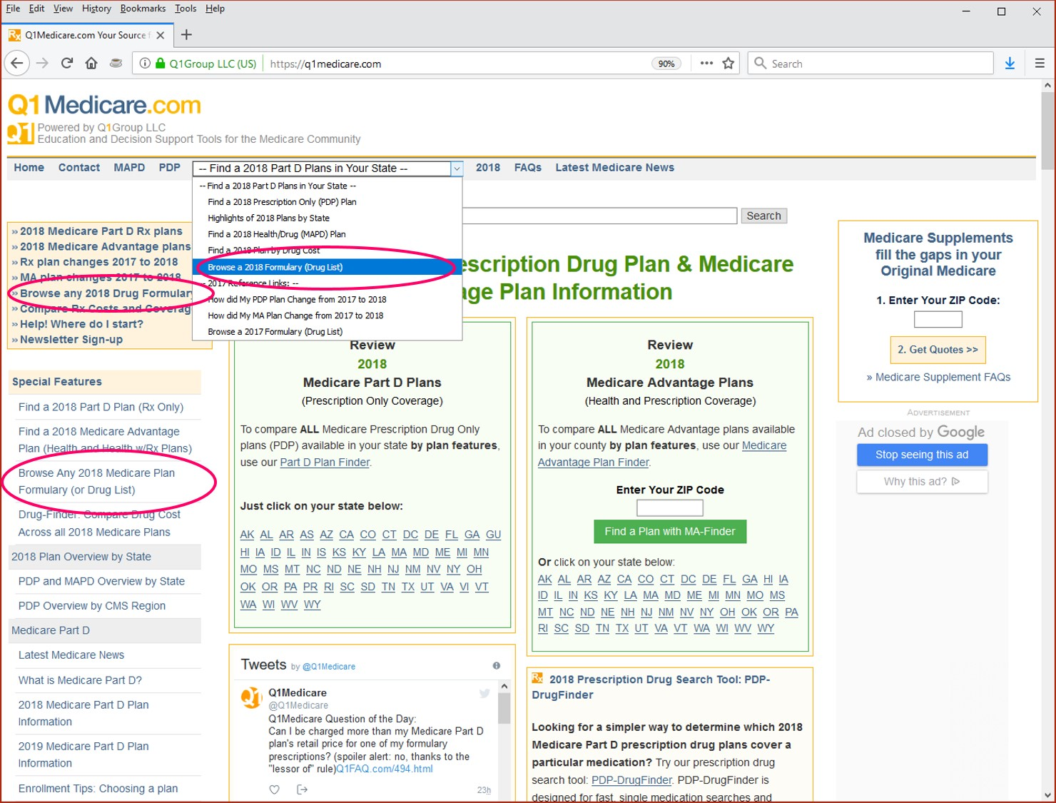 Q1Medicare Formulary Browser Links