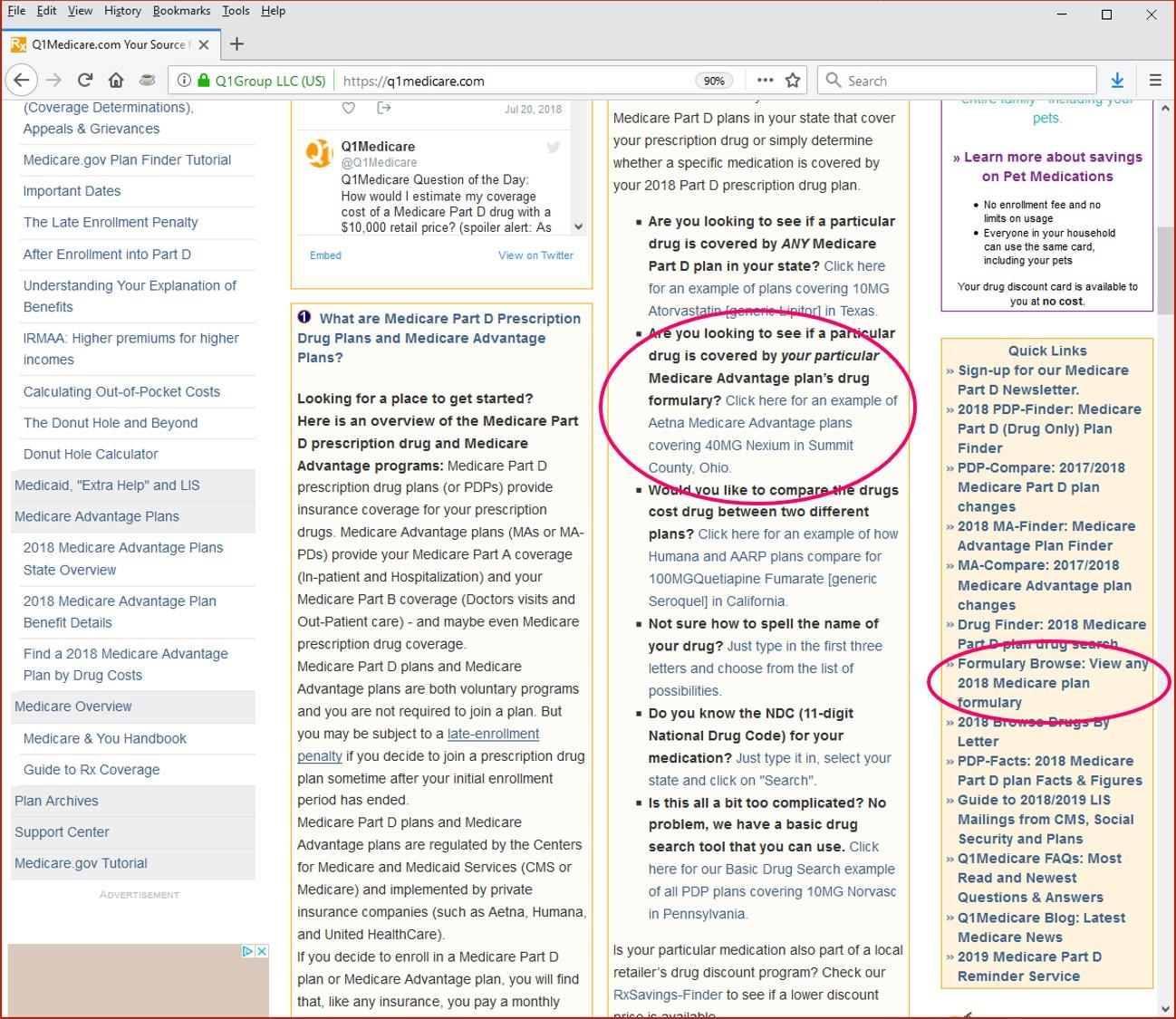 Q1Medicare Formulary Browser links