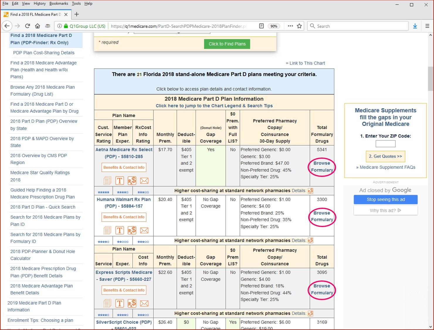 Q1Medicare Formulary Browser links from PDP-Finder