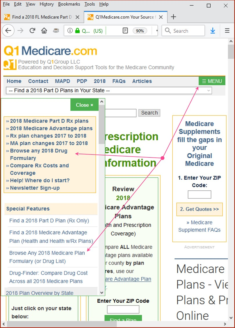 Q1Medicare Formulary Browser Links For Mobile