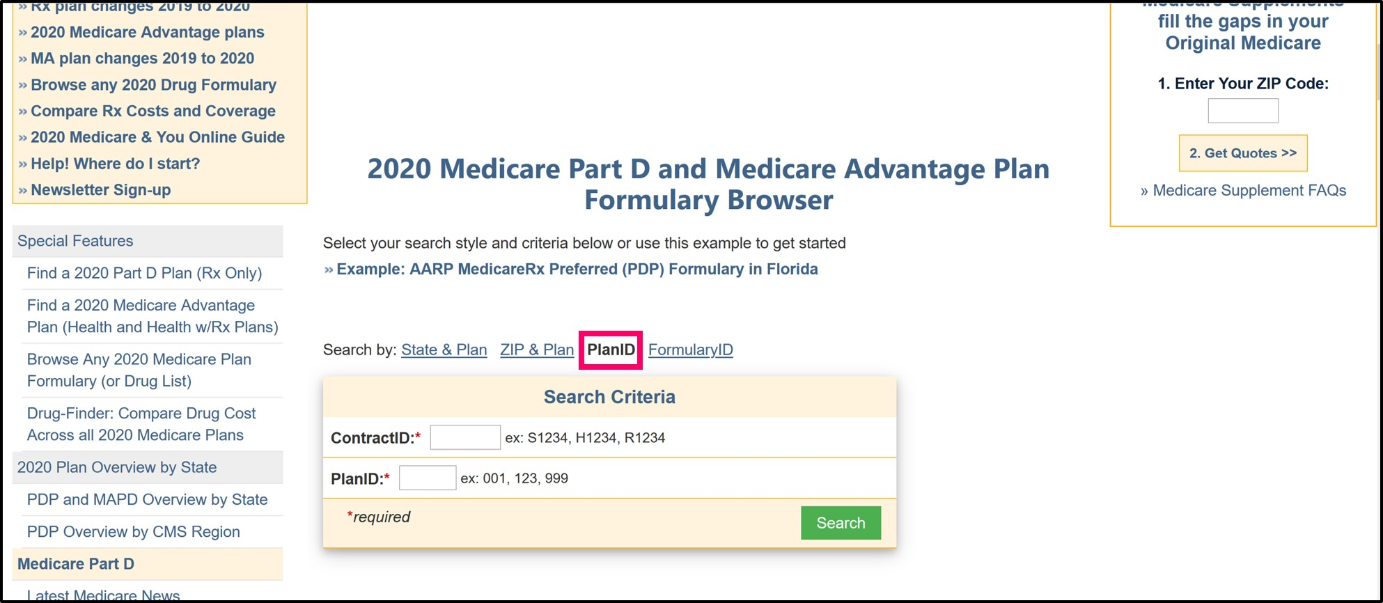Q1Medicare Formulary Browser Plan_ID and Contract_ID search page