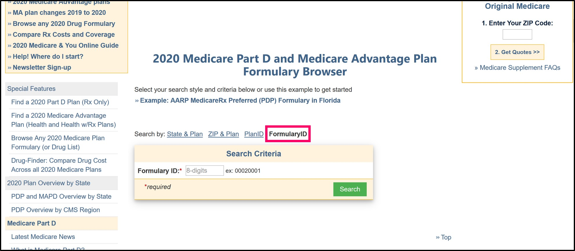 Q1Medicare Formulary Browser Formulary_ID search page