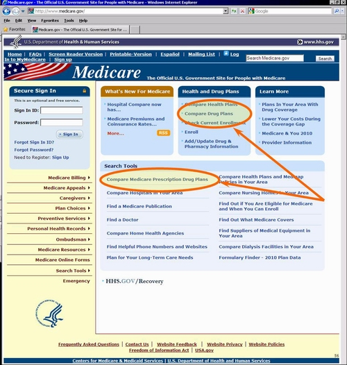 Medicare.gov Home Page with Highlights of where to begin.