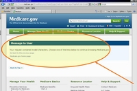 The Medicare.gov site can experience problems and you may get an error message.