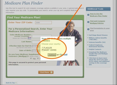 Medicare.gov Plan Finder Tutorial - If your ZIP Code crosses over more than one county, then choose your county.