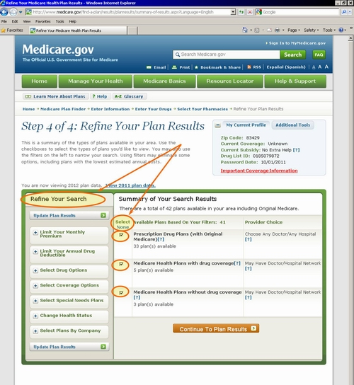 Medicare.gov - Tutorial - Your Personalized Plan List (Plan Overview)