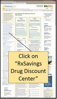 "Begin by selecting the ""RxSavings Drug Discount Center"" from the Q1Medicare.com lefthand navigation."